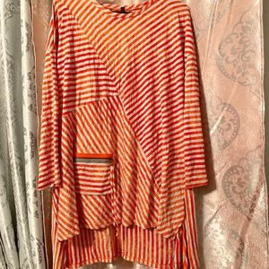 Orange and gray stripe tunic with front pocket!